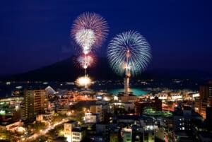 2009年(第9回)市役所別館から - かごしま錦江湾サマーナイト大花火大会