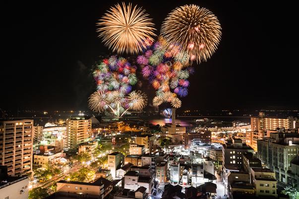 2000年を機に開催された九州最大の花火大会 - かごしま錦江湾サマーナイト大花火大会